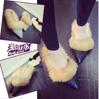 Women Winter Flats with Fur Slip on Pointed Toe Casual Shoes Female Plush Flats  BT389