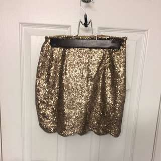 New Tobi Gold Scalloped Skirt