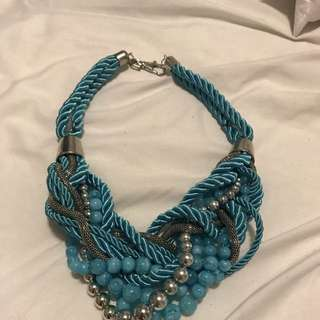Chunky Teal & Silver Rope Necklace