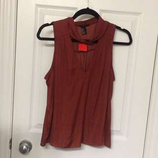 *Reduced* New Tanned Orange Plunge Top With Choker/Scarf Attachment