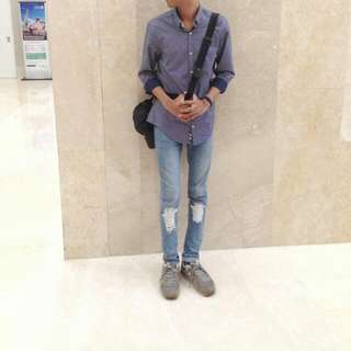 Shirt By ZARRA  Rip Jeans By PULL & BEAR
