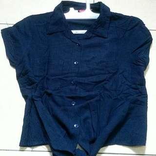 Navy Tshirt CropTop