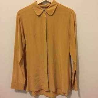 Everlane Mustard Silk Shirt Size M
