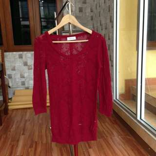 Maroon Lace Sweater