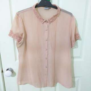 Sheer Vintage Inspired Light Peach Blouse