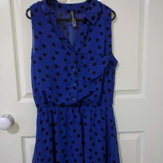 Royal Blue And Black Polka Dot Dress