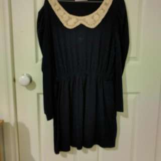 Navy Blue Long Sleeve Mini Dress With Peter Pan Collar