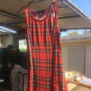 See You Monday Red Tartan Dress Size Large