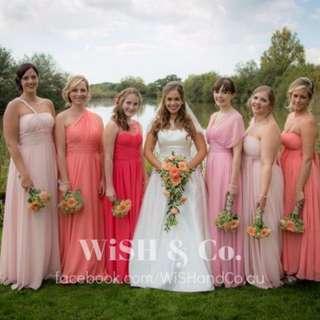 Multi-Way Convertible Long Wrap Chiffon Dress - Wedding Bridesmaid Dress - Custom Sizes and Colours - Made To Measure - AM033
