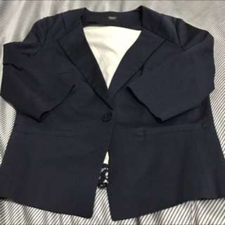 IROO 藍色7分袖鏤空小外套