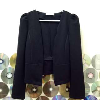 Black Scallop Blazer Jacket