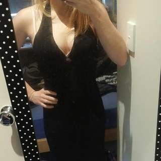 Black Halter Neck Maxi Dress Size 10/M