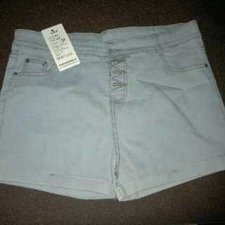 Light Blue Demins Highwaist Shorts (Plus Size)