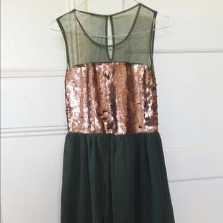 New With Tags Green Chiffon Mixi  Sequin Dress With Bronze Sequin Detail Size 12 EUR 40 Free Postage