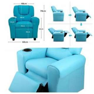 Kids Padded PU Leather Recliner Chair Children Sofa Arm Drink Holder CHOOSE COLOUR FREE DELIVERY