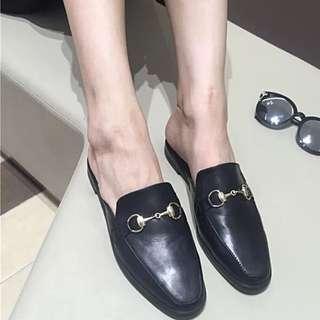 全新歐美典雅金屬釦皮革穆勒鞋 休閒半拖鞋