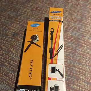 Yunteng YT-1288 Monopod Selfie Stick and YT-228 mini tripod