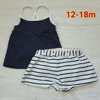 Navy Blue Sleeveless Top With Short