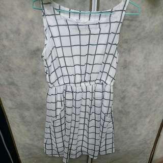 Net白色格子洋裝