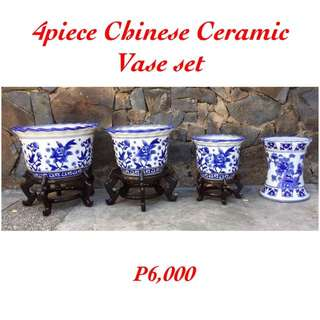 4piece Ceramic Chinese Vase Set