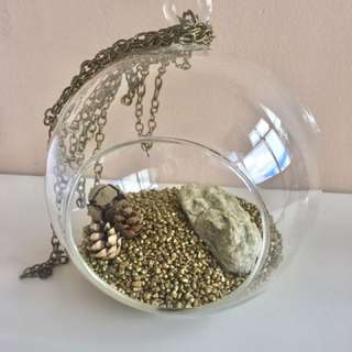 6'' Diam Glass Terrarium For Air Plants With Gold Stones And Gold Chain