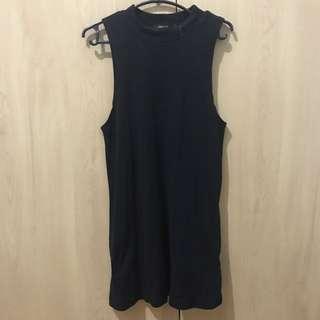 SM Woman Black Ribbed Dress