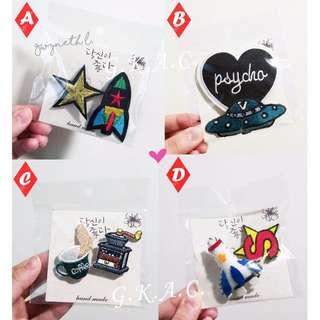 全新 新款 現貨 韓國 刺繡 胸針 別針 貼布  時尚百搭 飛行外套MA1  棒球外套午餐袋帆布袋 裝飾 快速出貨