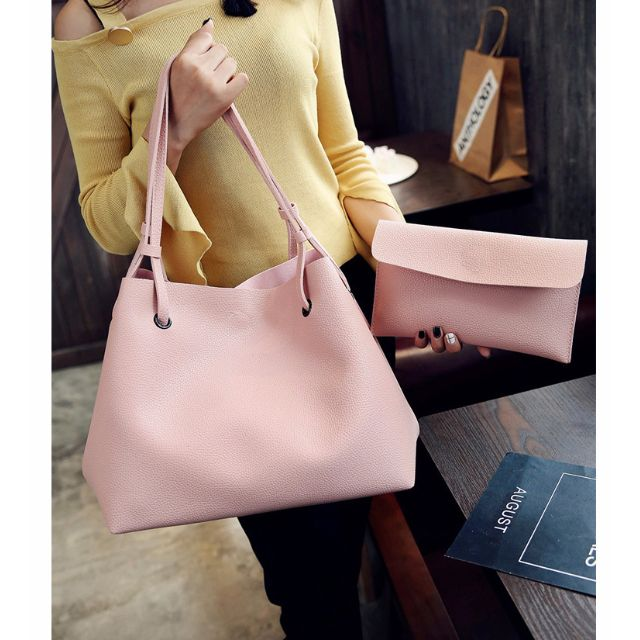 2 in 1 Large Casual Leather Bucket Shoulder Bag with free pouch