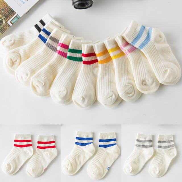 韓款小清新中筒棉襪