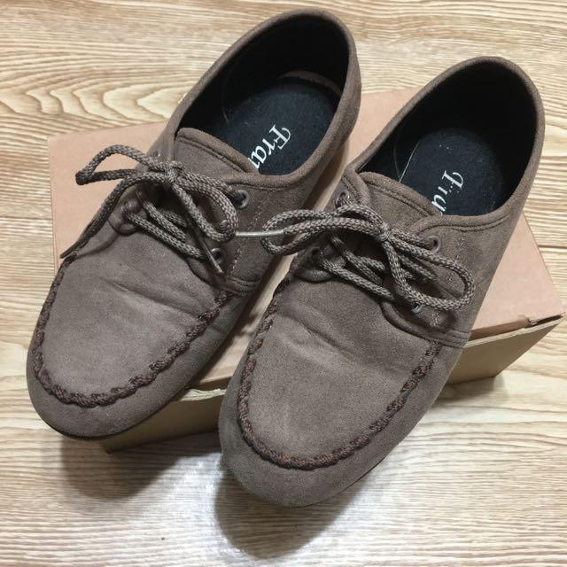 正韓 麂皮綁帶平底休閒鞋
