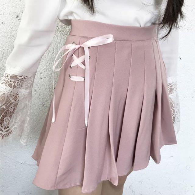 蝴蝶結繫帶 百褶裙 褲裙