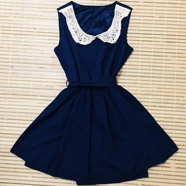 雪紡 蕾絲領 飄逸裙襬 小洋裝