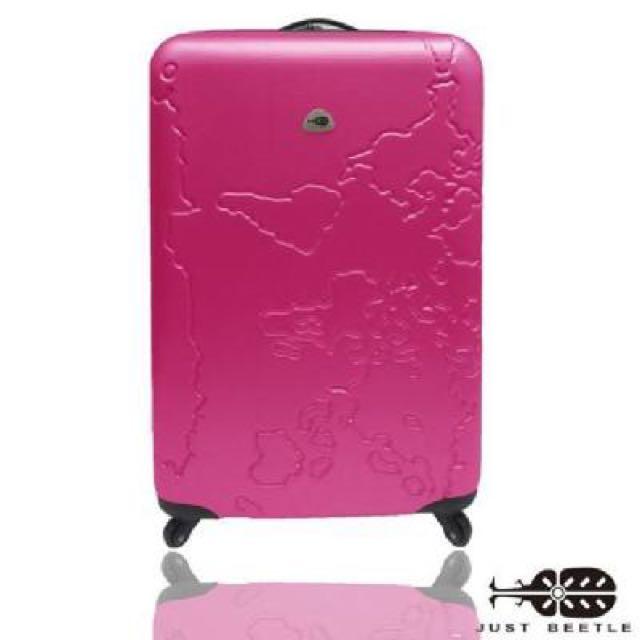 【 Just Beetle】世界地圖系列ABS材質霧面輕硬殼行李箱|20吋/桃紅色