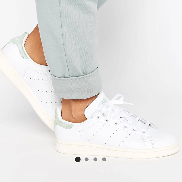 Adidas Originals White Stan Smith Trainers With Green Detail