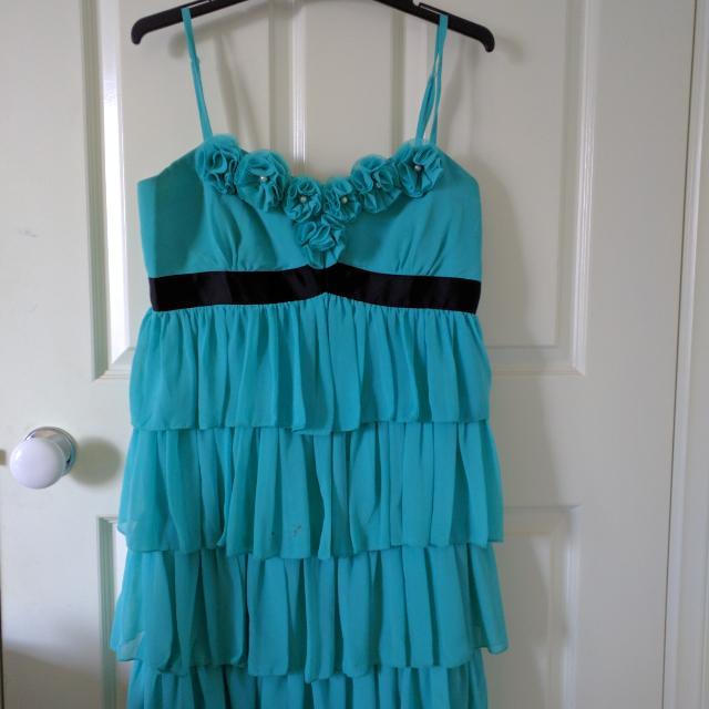 Aqua/Sky Blue Short Dress With Ruffles
