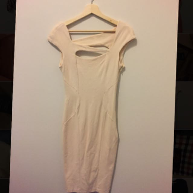 Asos Cream Fitted Dress Size 10