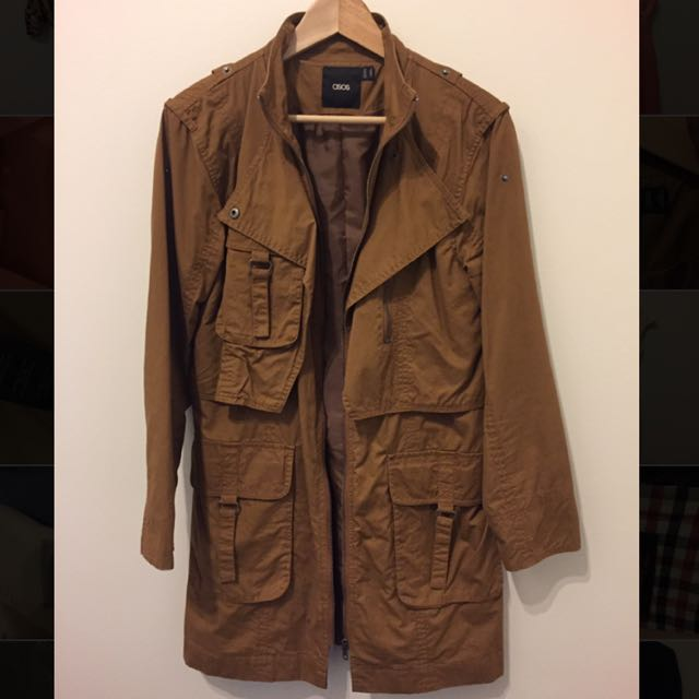 Asos Women's Dark Tan Military Coat Size 8