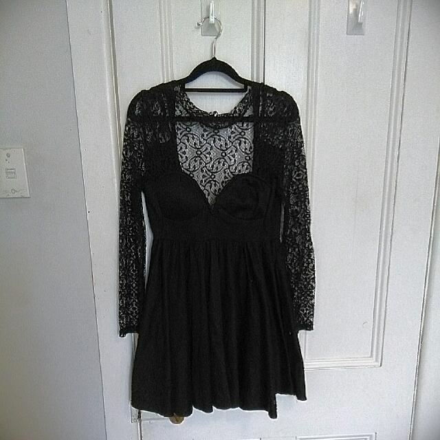 Black Lace Skater Dress, Size 10