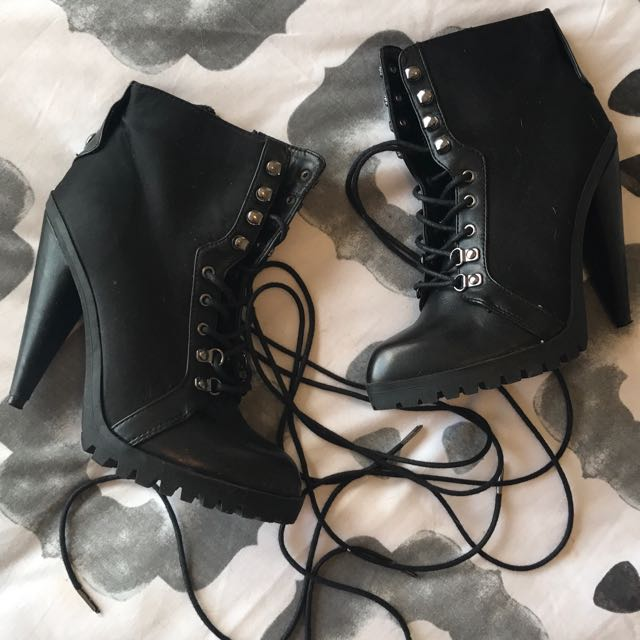 Black Lace Up Ankle Boots.