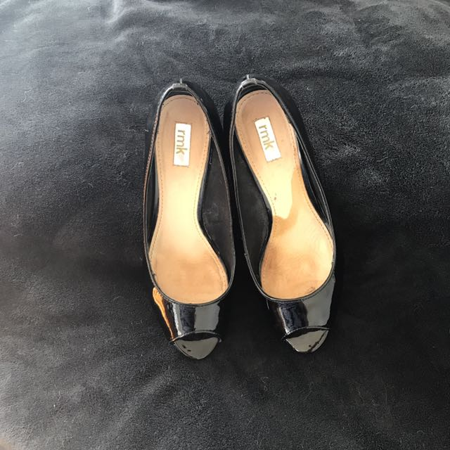 Black patent Leather Wedges Size 9