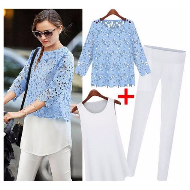 Blue Hollow Lace Top and White Pants Set