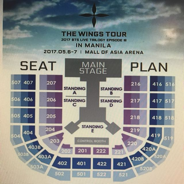 BTS VIP TICKET VIP A 206 Seat DAY 1 May 6, 2017