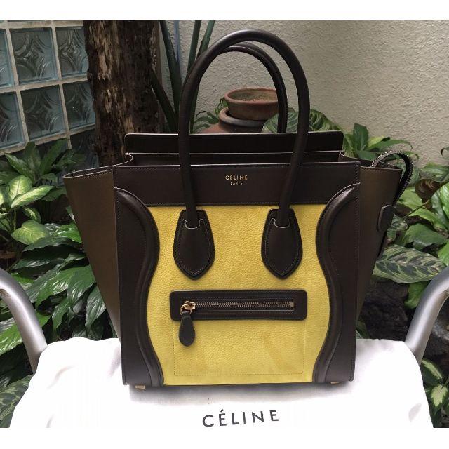 Celine Micro Luggage Handbag in Chartreuse Nubuck Calfskin