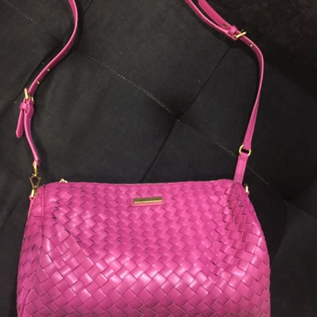 Charles and Keith Woven Style Shoulder Bag-pink