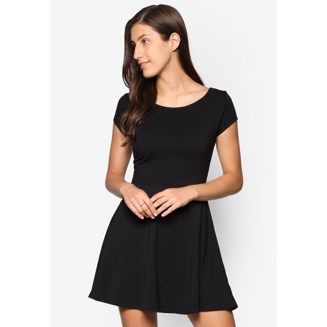 Cotton On Black Billie Cap Sleeve Skater Dress