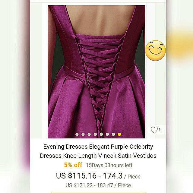 Elegant Purple V-Neck Evening Dress Formal Dress Graduation Dress With Pocket