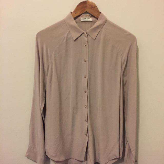 Everlane Pale Pink Silk Shirt Size L