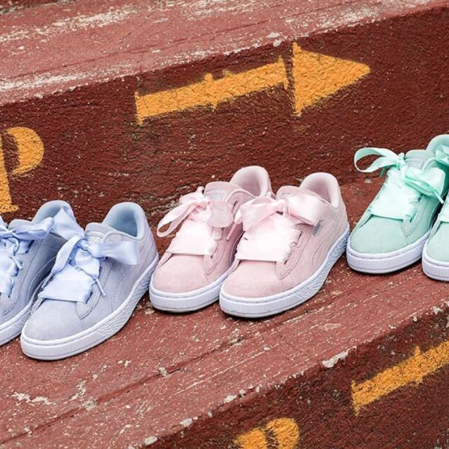 check out 86cf0 ec358 UK EXCLUSIVE] Puma Basket Heart Suede In Pastel Blush Pink ...