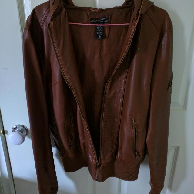 Faux Leather Jacket In Brown/Tan With Hood