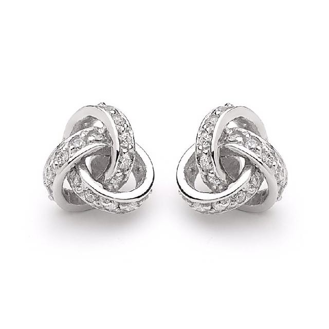 Georgini Sterling Silver Love Knot Clear Cz Stud